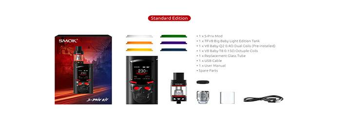 contenu du kit S-Priv TFV8 Big Baby light smoktech