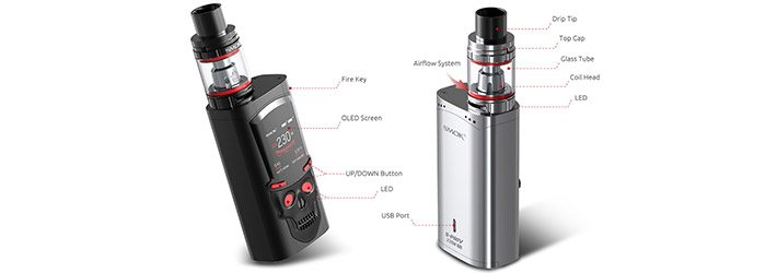 Kit S-Priv TFV8 Big Bany light edition Smoktech - noir argent