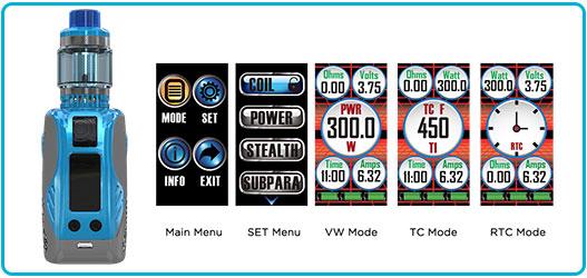 kit wismec reuleaux tinker 300W tc écran menu configuration