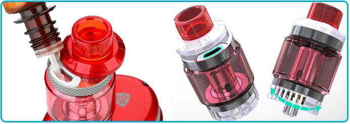 remplissage du clearomiseur column 6.5 ml kit wismec reuleaux tinker 300W tc