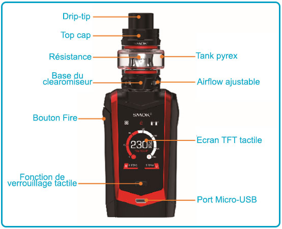 mode d'emploi smok species et clearomiseur tfv8 baby v2