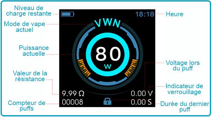 Manuel d'utilisation luxe nano 80w vaporesso skrr mini interface
