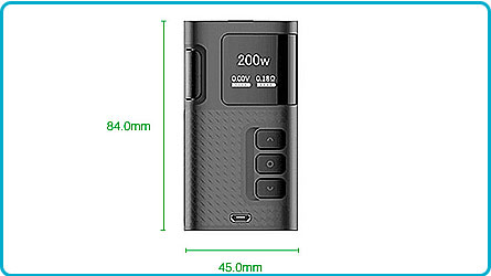 Ripple-200W-TC-dimensions box Kanger