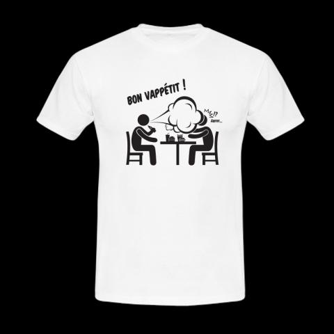 Tee-Shirt humour de vape : bon vappetit.
