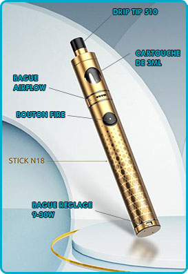 stick n18 smok batterie intégrée